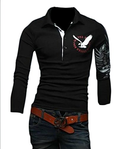 ouxiuli Men's Slim Fit Solid Color Print Long-sleeved Cotton Polo T-Shirt Black (State Farm Polo)