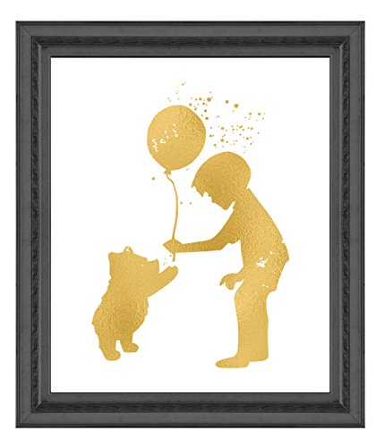 Inspired by Winnie the Pooh, Piglet, Tigger and Friendship - Gold Poster Print Photo Quality - Made in USA - Disney Inspired - Home Art Print -Frame not included (8x10, PoohChristopher)