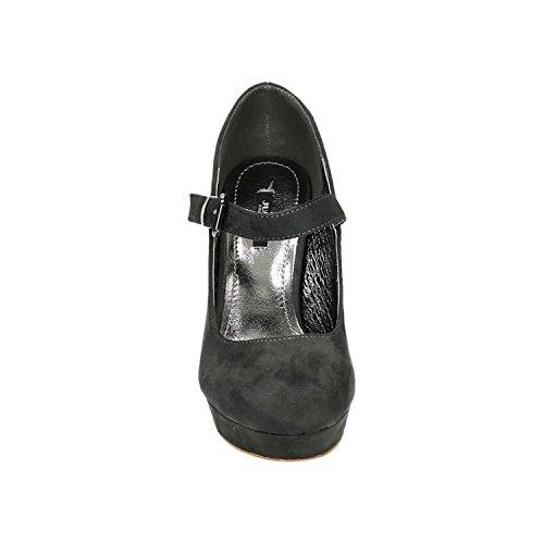 King Of Shoes Damen Mary Jane Riemchen Pumps High Heels Plateau Sandaletten Peep Toes E22 Grau