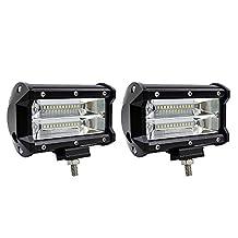 KKmoon 2pcs 5inch 72W LED Light Bar Spot Beam Work Light Driving Fog Light Road Lighting for Jeep Car Truck SUV Boat Marine