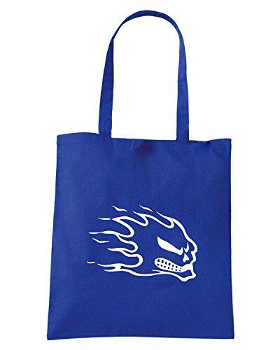 T-Shirtshock - Bolsa para la compra FUN0421 1813 flaming skull 9 decal 35835 Azul Real