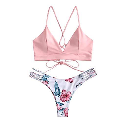 Women's Bathing Suit Spaghetti Strap Floral Print Criss Cross Bikini Set Printed Swimsuits Swimwear (M, Pink)