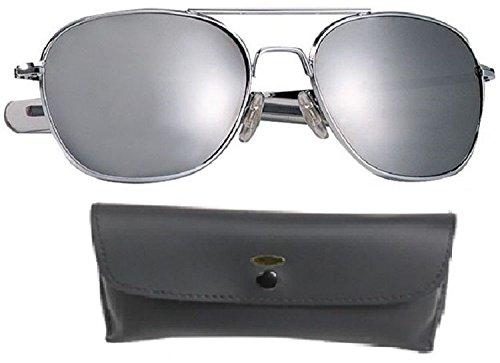 Chrome/Mirror Pilot Sunglasses Air Force Style With Case - 52 Mm