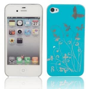 Decorative Pattern Protective Hard Case for iPhone 4/4S Cyan