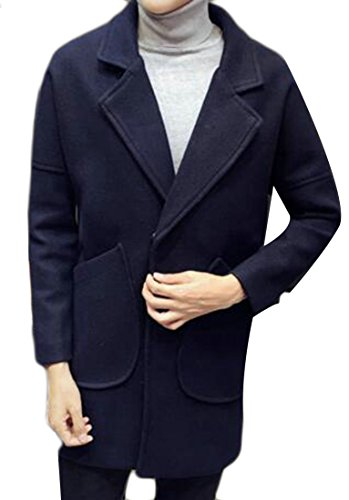 Loose Blend Casual Long Mens Jacket UK Sleeve Solid Pea Blue today Wool tqF0Exww