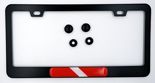 (Diving Flag Metal Black Aluminium Car License Plate Frame Holder Diver Dive)