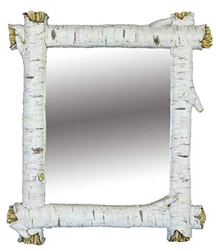 - Country Axentz Square Rectangular White Birch Tree Log Wall Mirror, 14
