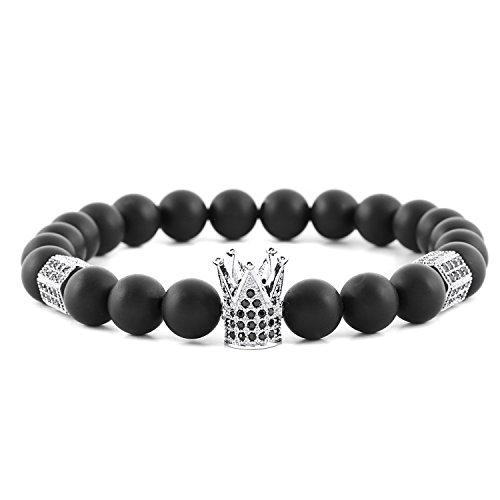 POSHFEEL 8mm Black Onyx Stone Micro Pave CZ Zirconia King Crown Charm Stretch Bracelet for Men, 7.5