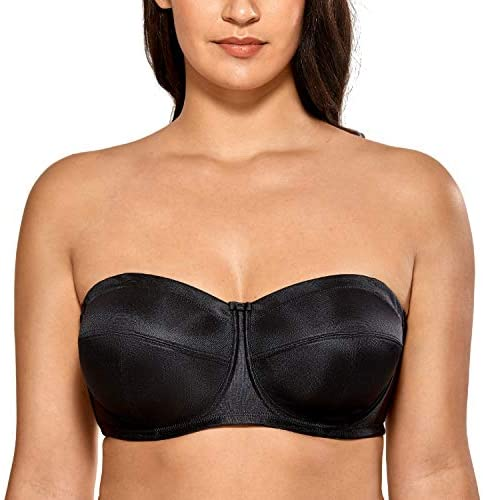 DELIMIRA Women's Strapless Bra for Large Bust Underwire Ultra Support Convertible Strap