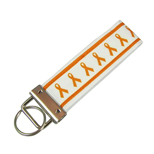 Orange Ribbon Lukemia Awareness Key Fob / Fabric Key Chain
