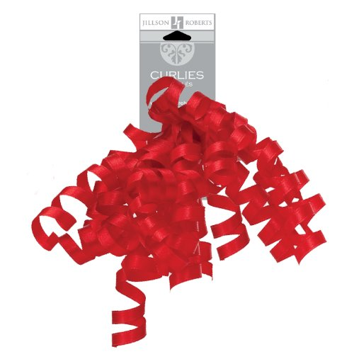 Jillson Roberts 6-Count Self-Adhesive Grosgrain Curly Bows Available in 15 Colors, Lipstick - Ribbon Grosgrain Curling