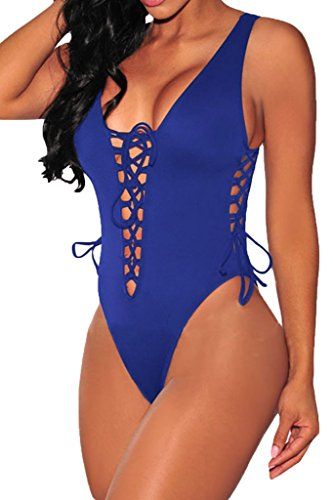 FIYOTE Women High Cut One Piece Swimsuits Bathing Suits Sexy Swimwear (M, Blue)