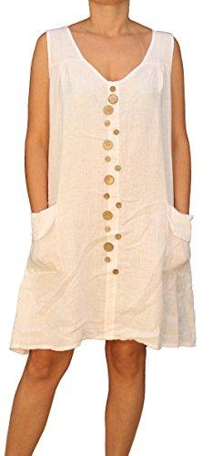 07675 Mesdames Robe en lin, sans manches, une coupe, beige, bleu, rouge, vert, blanc, noir, M, L, XL, XXL. Blanc