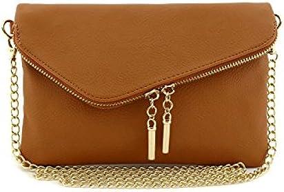 Envelope Wristlet Clutch Crossbody Bag with Chain Strap Tan