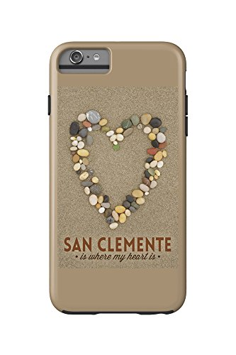 San Clemente Is Where My Heart Is - California - Stone Heart on Sand (iPhone 6 Plus Cell Phone Case Cell Phone Case, - Clemente Where Is California San
