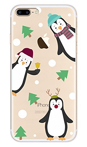 Buyus X-Mas Series Case For iPhone 8 Plus/ 7 Plus, Clear With Design, Soft Thin TPU Rubber Silicone Back Protective Cover Bumper with Cute Animal Pattern (Penguins 3 in 1, Green Christmas Trees Pines)