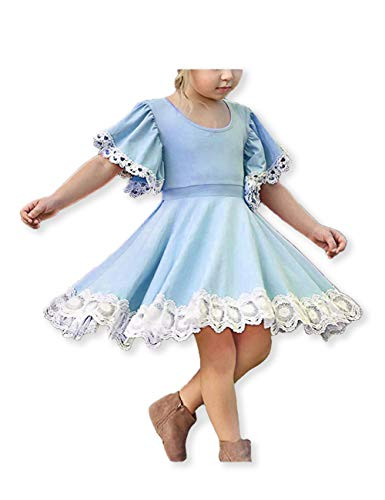 Girls Pageant Lace Flower Dress Kids Trumpet Sleeve Elegant Princess Birthday Party Casual Dress 2-8 Years Blue