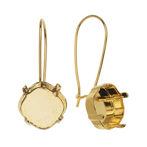 Gita Jewelry Stone Setting for Swarovski Crystal, Tilted Square Kidney Wire Earrings for 12mm Cushion, 1 Pair, Gold Plated