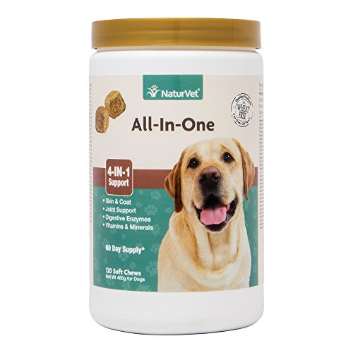 NaturVet All-in-One 4-IN-1 Support for Dogs, 120 ct Soft Chews, Made in USA (1 Dog)