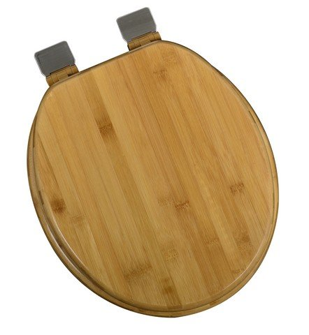 Bath Décor 5F1R1-20BN Round Rattan Bamboo Toilet Seat with Adjustable Brushed Nickel Hinge and Decorative Finish - Oak Round Front Toilet Seat
