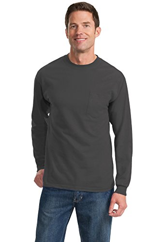 Port & Company Men's Tall Long Sleeve Essential T Shirt with XLT Charcoal