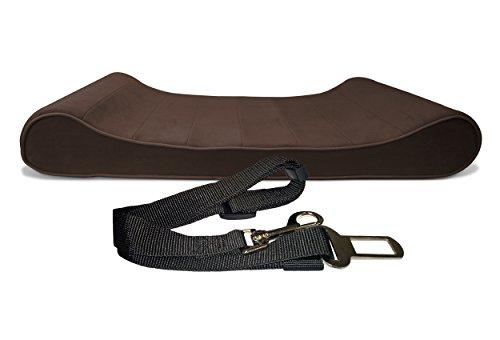 [FurHaven Micro Velvet Luxe Lounger Pet Bed + Seat Belt Clip, Espresso, Large] (Pet Clip)