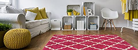 Soft Shag Area Rug 5x7 Moroccan Trellis Pink Ivory Shaggy Rug - Contemporary Area Rugs for Living Room Bedroom Kitchen Decorative Modern Shaggy (Gray And Pink Round Rug)