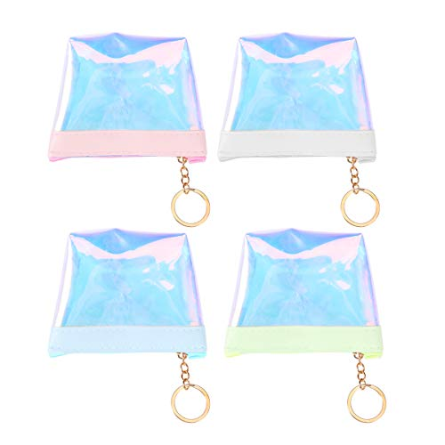 Transparent Data Cable - TENDYCOCO Wallet Transparent Holographic Purse Data Cable Earphone with Key Ring 4pcs