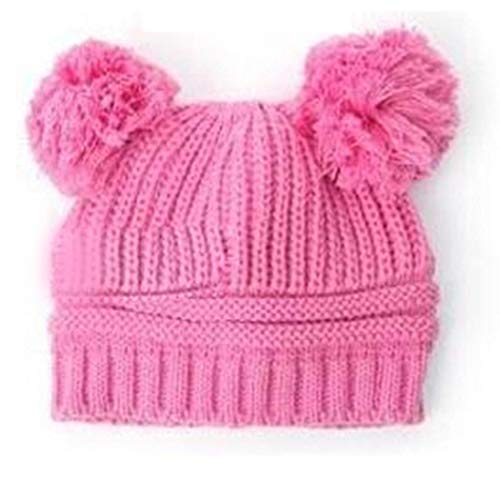 Pinsparkle Kids Baby Solid Knit Hats Double Pompom Fur Ball Hat Winter Warm Cap Hats & Caps