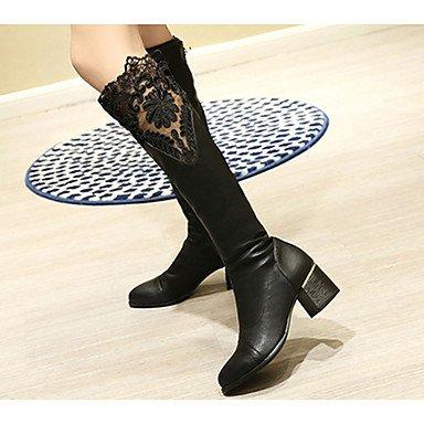 Botas para mujer otoño/invierno vestido de piel sintética botas de combate talón Chunky otros negro otros, black-us8.5/eu39/uk6.5/cn40, ...