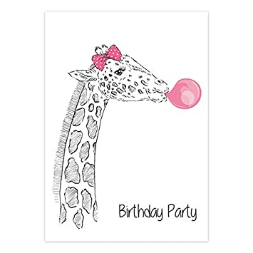 kids teens birthday invitations giraffe bubblegum pack of 10