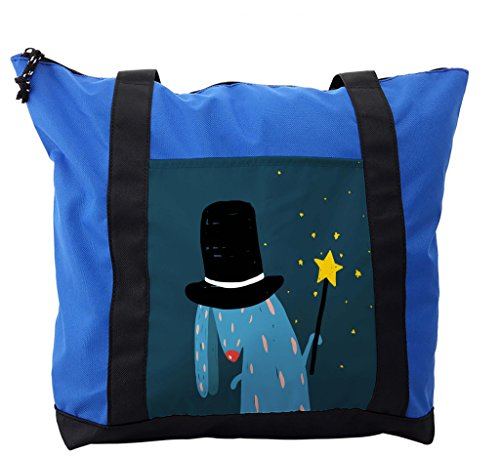 Lunarable Quirky Shoulder Bag, Wizard Rabbit with Black Hat, Durable with Zipper by Lunarable