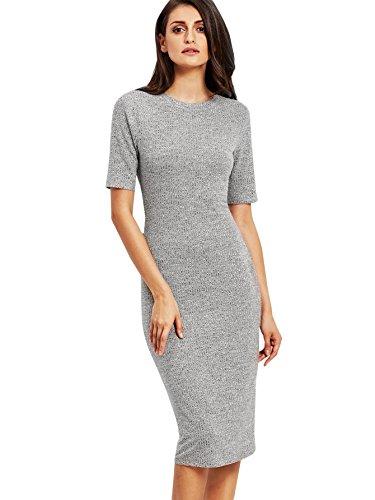SheIn Women's Short Sleeve Elegant Sheath Pencil Dress Small Grey ()