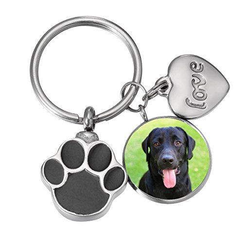SG Pet Dog Paw Cremation Urn Keychain for Dog Ashes Keepsake Personalized with Picture (Personalized with Photo 1)
