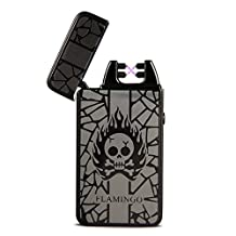 Padgene Windproof Electric USB Dual Arc Pulse Smoker Cigarette Lighter Fire Skull Head