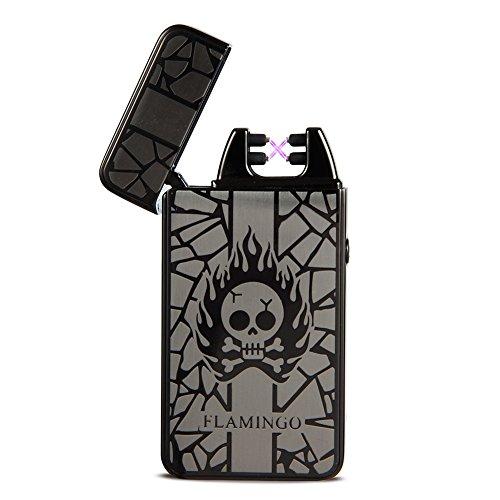 Padgene Electronic Pulse Arc Cigarette Lighter, Skull USB Rechargeable Flameless Electronic Pulse Cigarette Lighter (Black)