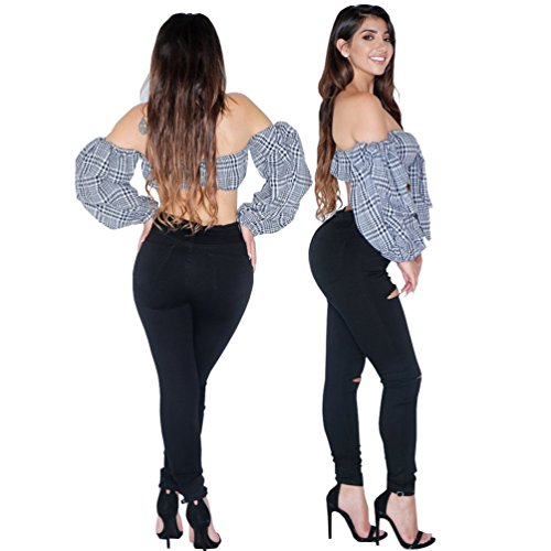 Skinny Jeans Alta Donna Fit Matita Pantaloni Nero Stretch Sentao Strappati Legging Vita Slim A vw4qP