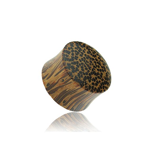 (Dynamique Pair Of Organic Coconut Wood Convex Solid Saddle Plugs)