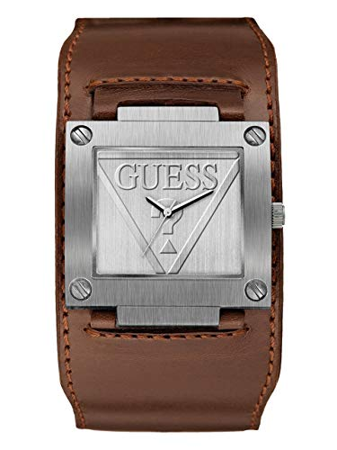 GUESS Men's Quartz Stainless Steel and Leather Casual Watch, Color:Brown (Model: U1166G1)