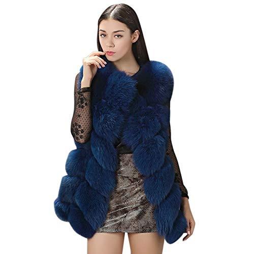 Hiver En Manteau Gilet Bleu Manteaux Foncé Femme Outwear Pulls Blousons Fausse Manche Coat Long Gyratedream Slim Élégant Fourrure Sans 7EwxOcd7q