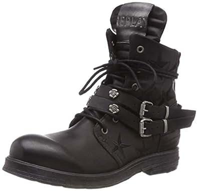 Mujer Zapatos Amazon Hynde y Motero es Botas Estilo para Replay B1HCcqOwO