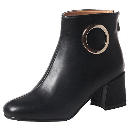AIYOUMEI Low Heels Chunky Boots Women Abkle Boots With Block Heel Short Boots Black koIxJJ6C