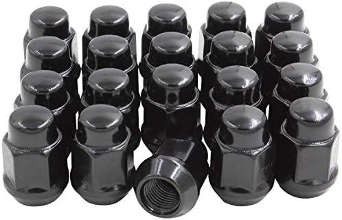 ホイールアクセサリー部品20個セット 1/2-20 ブラック 1.38インチ 長さ 21mm (13/16インチ) 六角ラグナット クローズドエンド バルジ ドングリ ラグナット コーンシート 1/2インチ ねじ