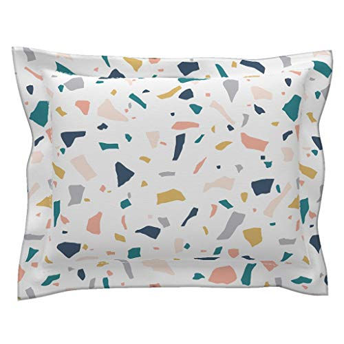 - Roostery Modern Terrazzo Flanged Pillow Sham Earthtones Neutral Speckle Terrazzo Trend Gender Neutral Baby by Emmbee-Design 100% Cotton Sateen