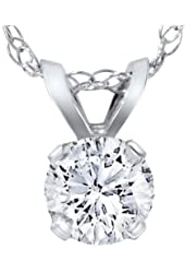 1/4ct Solitaire Round Diamond Pendant 14K White Gold