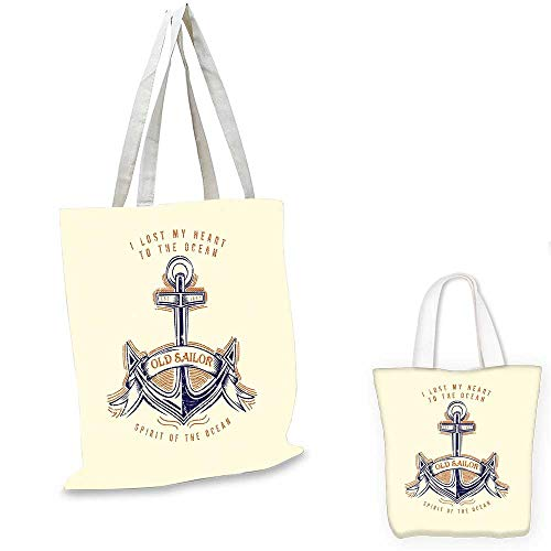 (Anchor canvas laptop bag Old Sailor Spirit Sign Firmly Anchored to the Ocean Image in Vintage Style canvas tote bag with pockets Orange Blue Yellow. 12