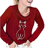 iYBUIA Casual Women Cute Cat Splice Round Neck Loose Long Sleeve T-Shirt Tops Wine