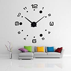 FASHION in THE CITY DIY 3D New Design Mirror Surface Wall Clock Luxury Wall Decorative Sticker Clock (NYD-Black)