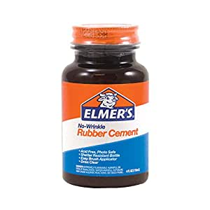 Elmer's No-Wrinkle Rubber Cement, Clear, Brush Applicator, 4 Ounce