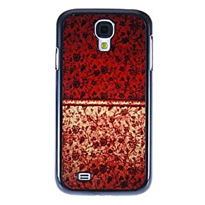 YULIN Gold Red Rose Pattern Mirror Smooth Back Hard Case with HD Screen Film 3 Pcs for Samsung Galaxy S4 I9500